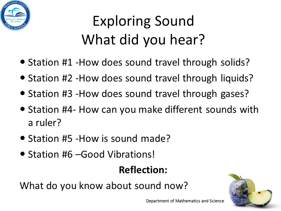 Exploring Sound What did you hear