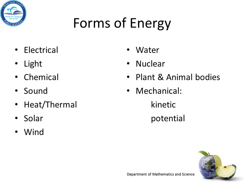 Forms of Energy Electrical Light Chemical Sound Heat/Thermal Solar