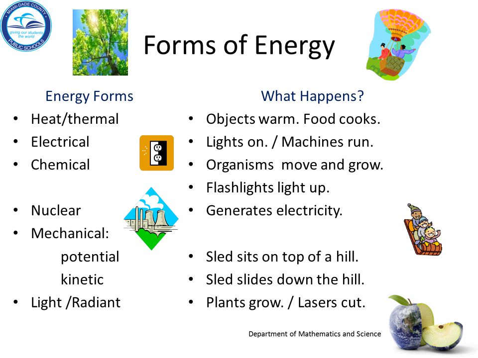 Forms of Energy Energy Forms Heat/thermal Electrical Chemical Nuclear