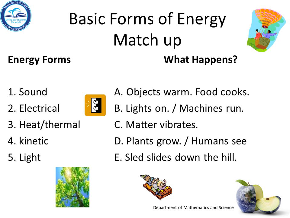Basic Forms of Energy Match up