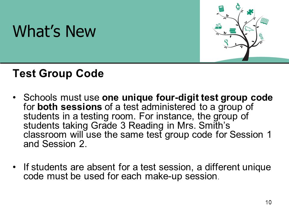 What's New Test Group Code