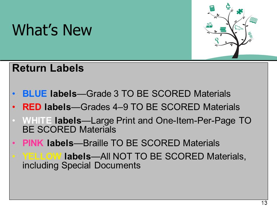 What's New Return Labels BLUE labels—Grade 3 TO BE SCORED Materials