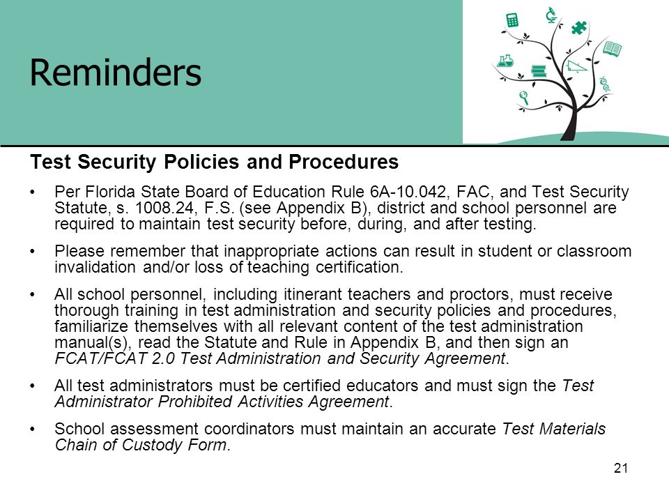 Reminders Test Security Policies and Procedures