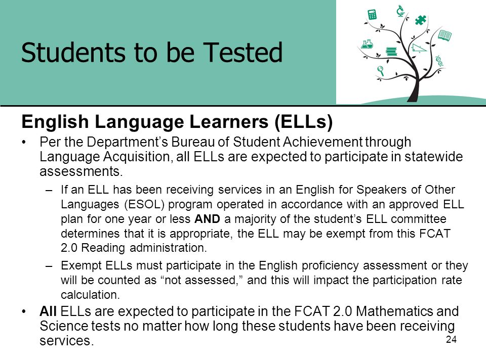 Students to be Tested English Language Learners (ELLs)