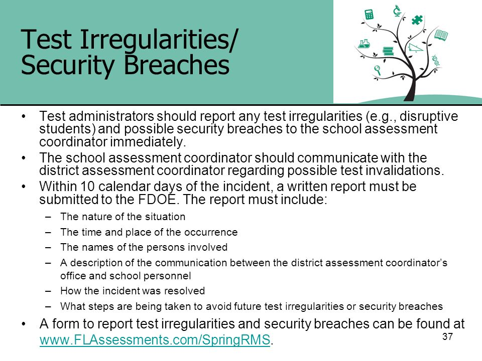 Test Irregularities/ Security Breaches