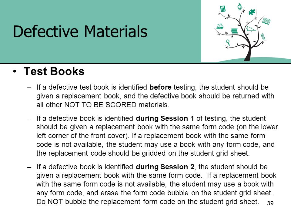 Defective Materials Test Books