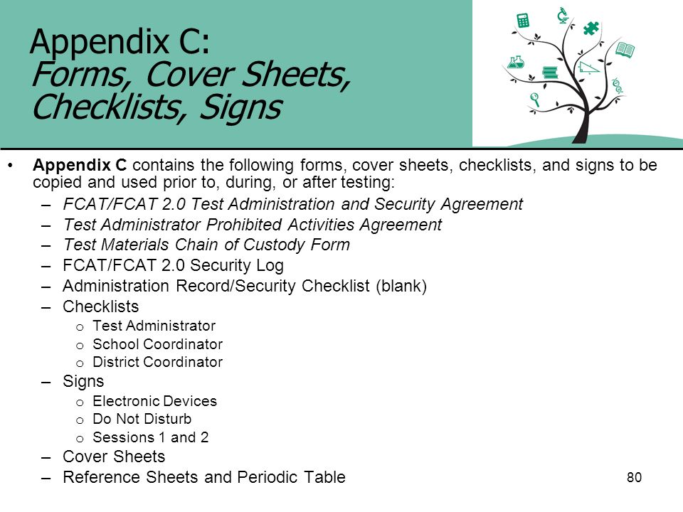 Appendix C: Forms, Cover Sheets, Checklists, Signs