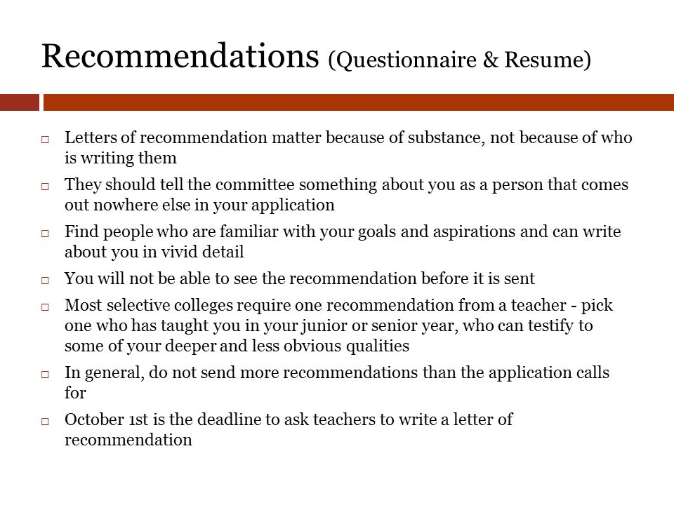College application process class of ppt video online download 33 recommendations questionnaire spiritdancerdesigns Choice Image