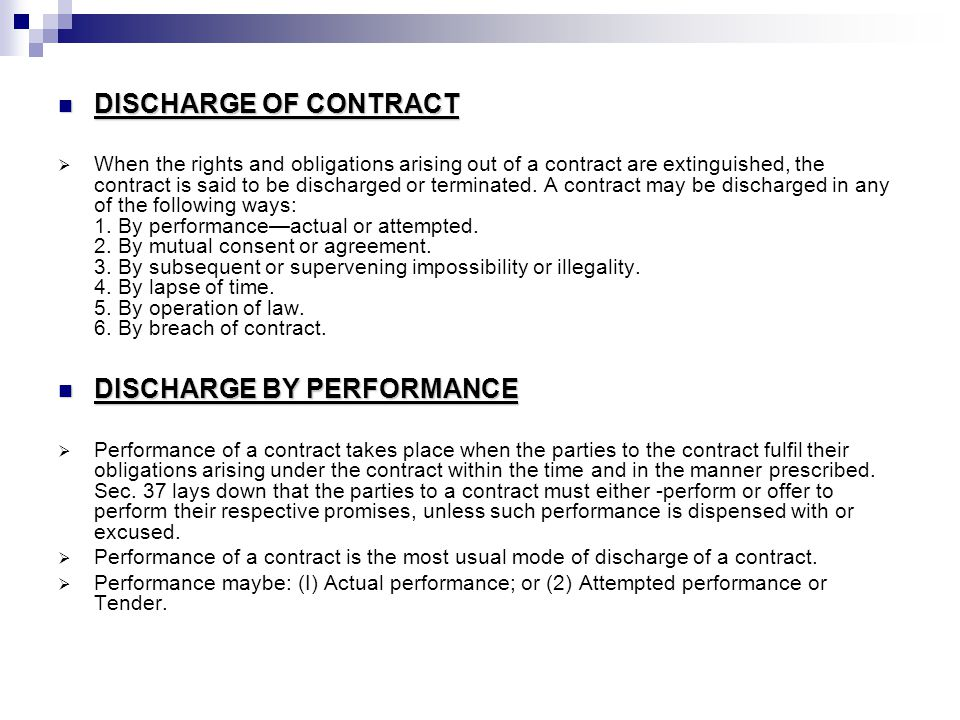Discharge Of Contract Ppt Video Online Download