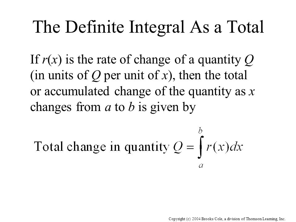 The Definite Integral As a Total