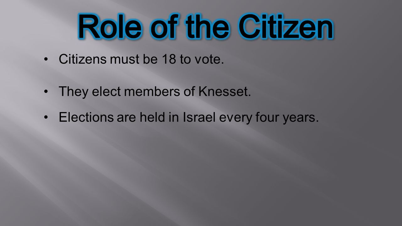 Role of the Citizen Citizens must be 18 to vote.