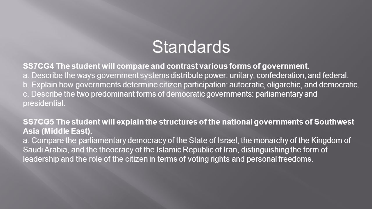 Standards SS7CG4 The student will compare and contrast various forms of government.