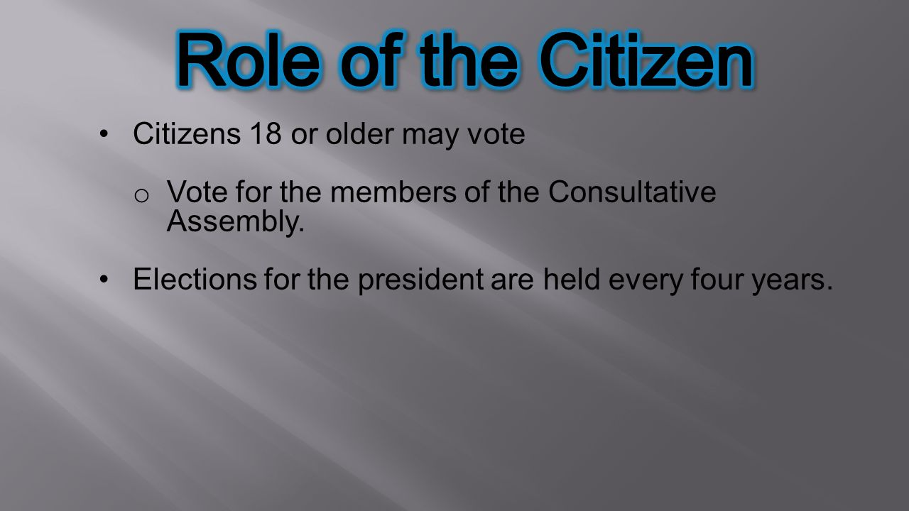 Role of the Citizen Citizens 18 or older may vote