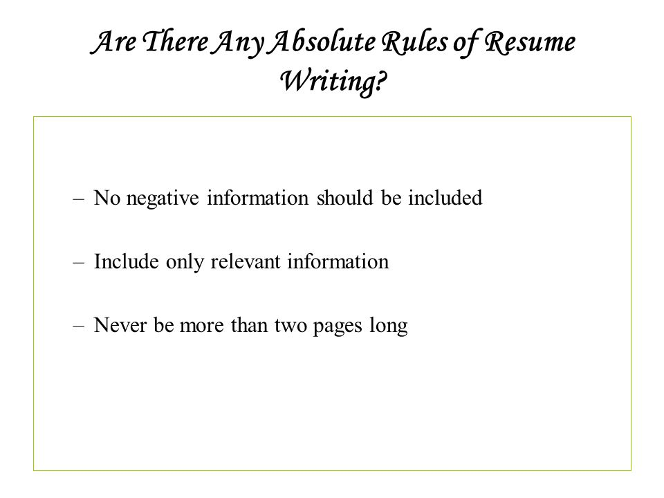 what information should be included in a resumes