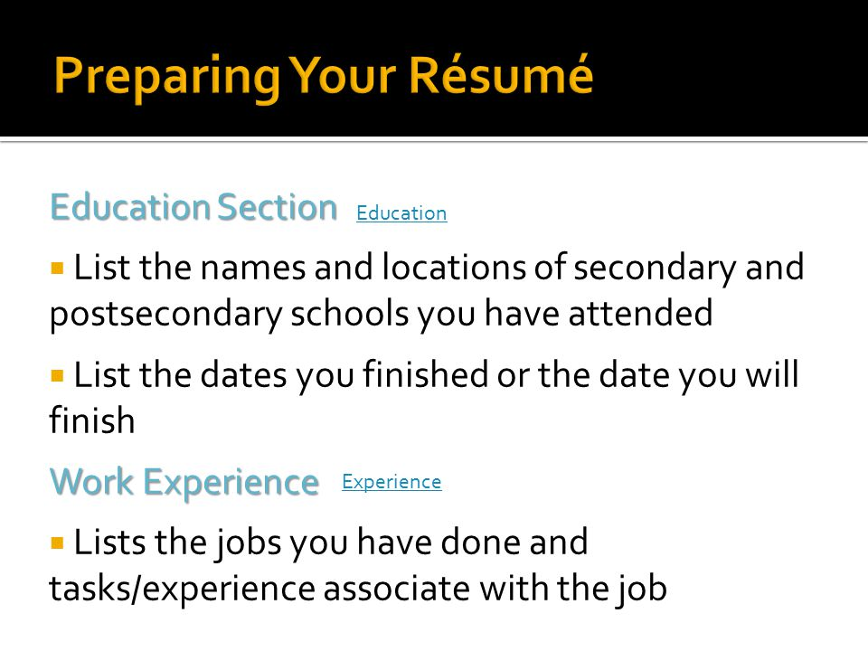 Preparing Your Résumé Education Section