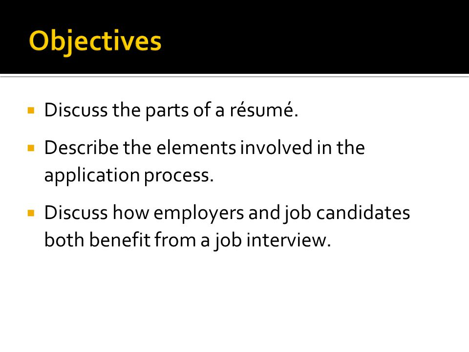 Objectives Discuss the parts of a résumé.