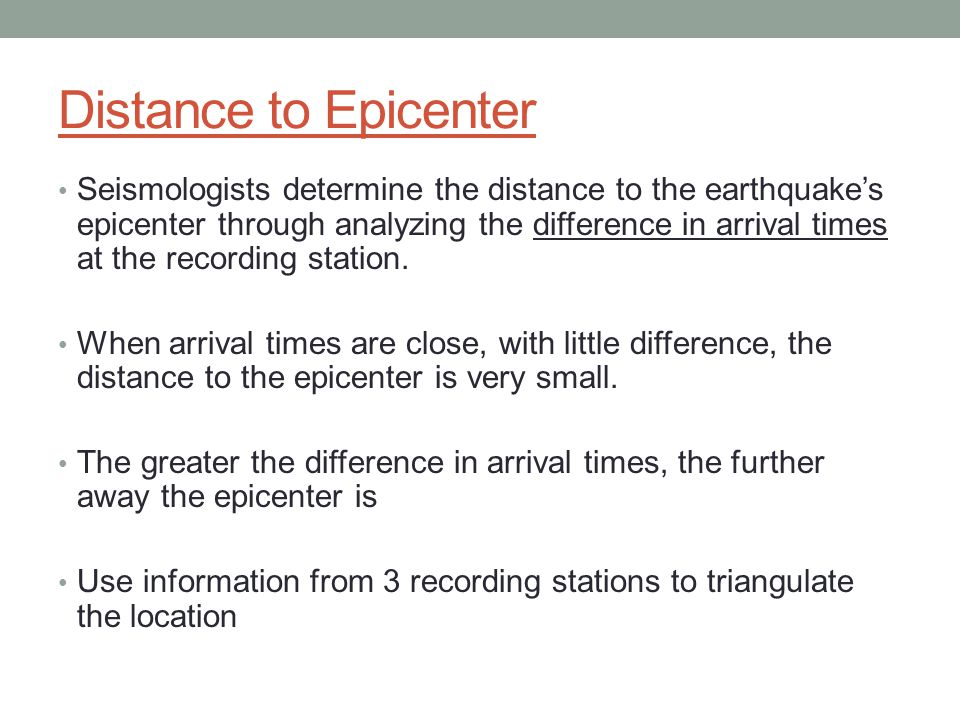 Distance to Epicenter