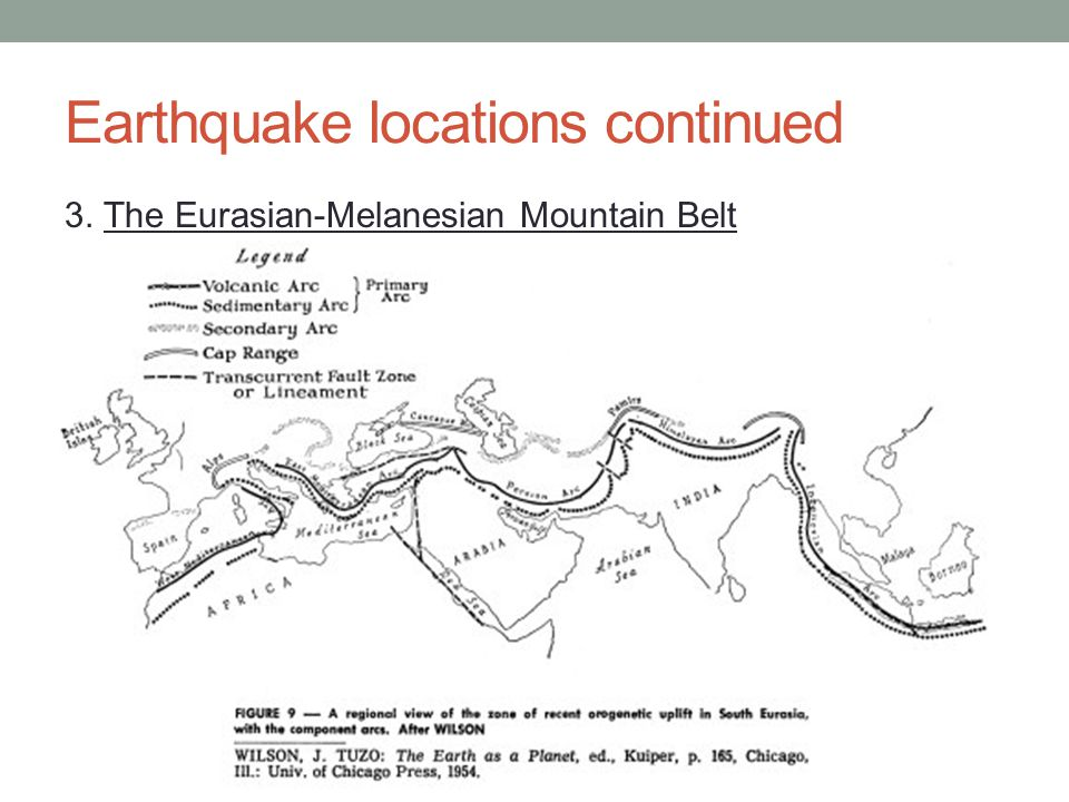 Earthquake locations continued