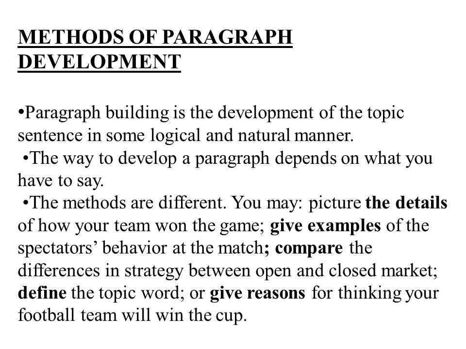 ways of developing a paragraph examples