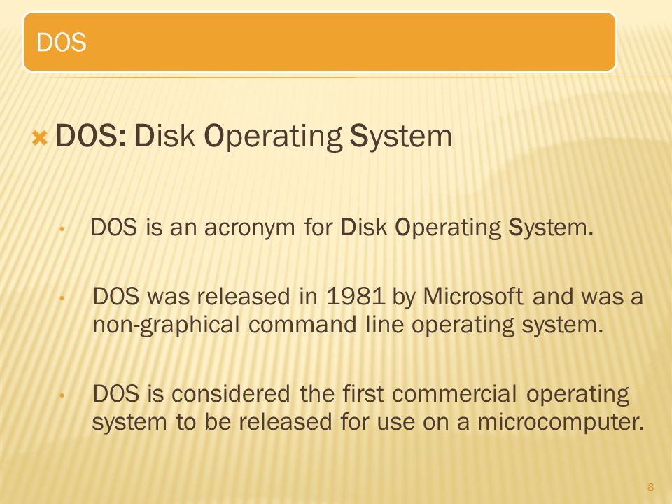 DOS: Disk Operating System