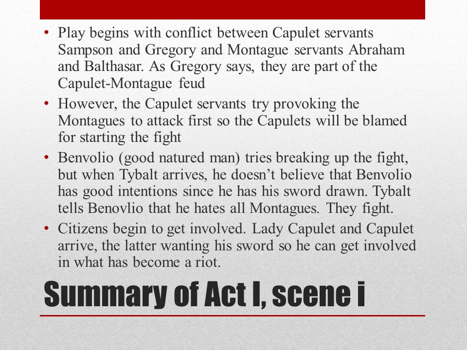 what started the feud between the capulets and montagues
