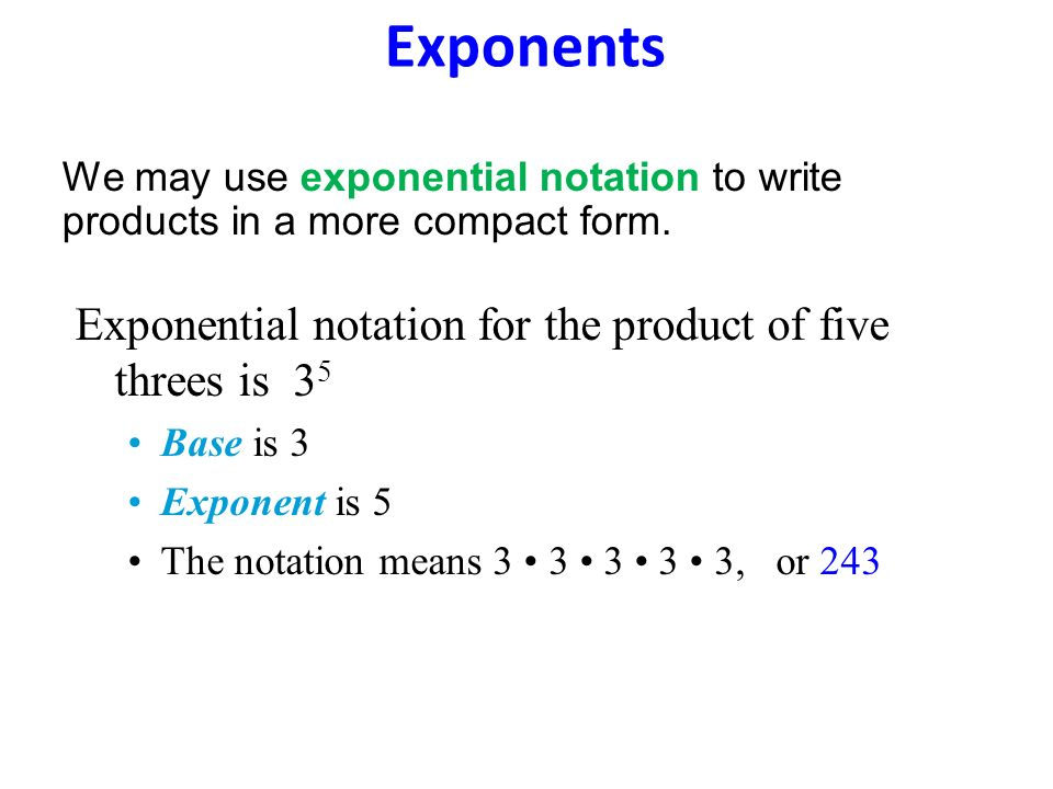 Exponents Exponential notation for the product of five threes is 35