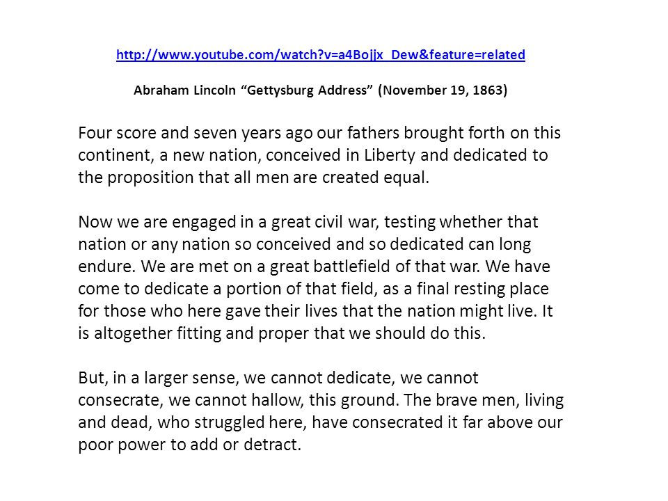 Abraham Lincoln Gettysburg Address (November 19, 1863)