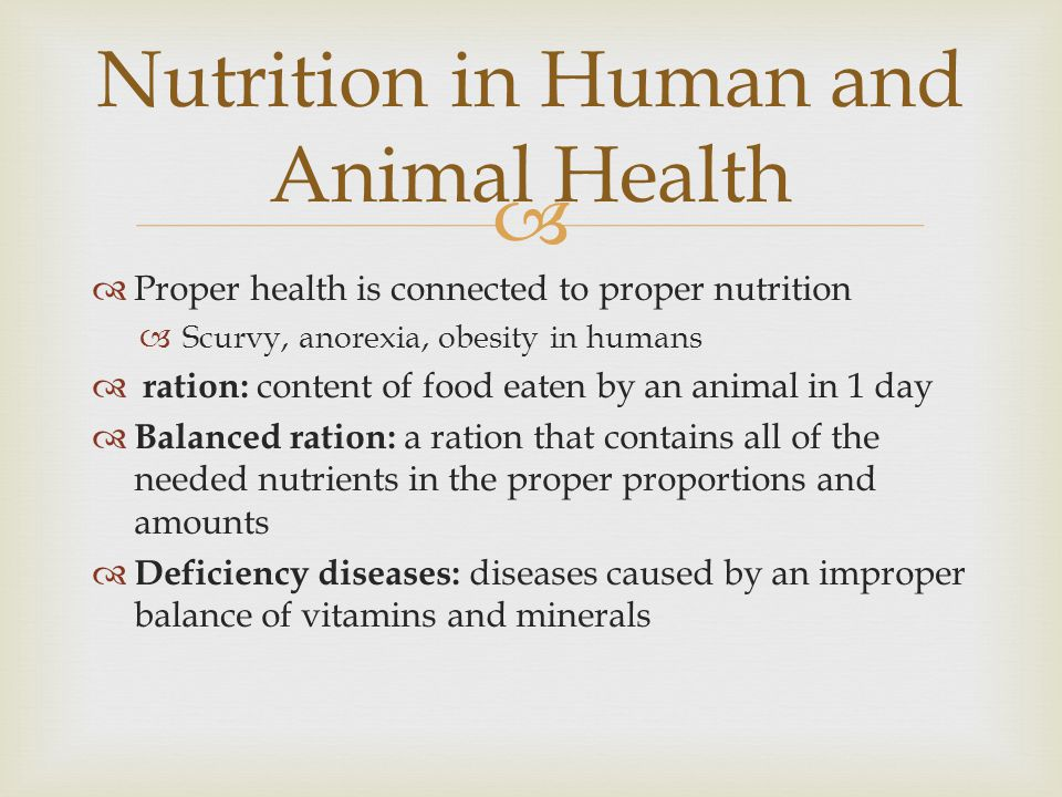 Nutrition in Human and Animal Health