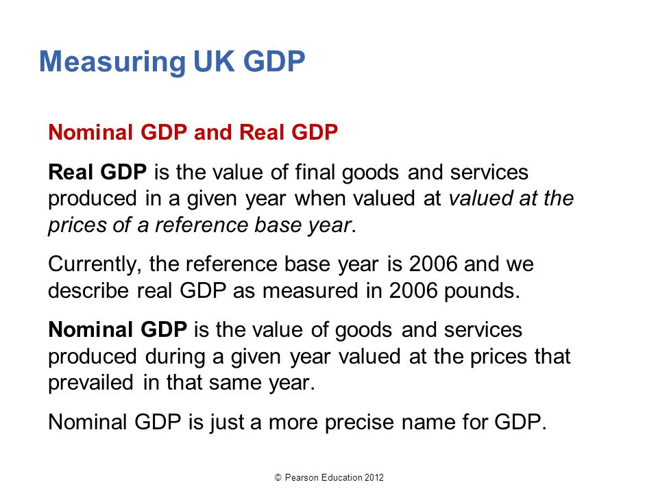 Measuring UK GDP Nominal GDP and Real GDP