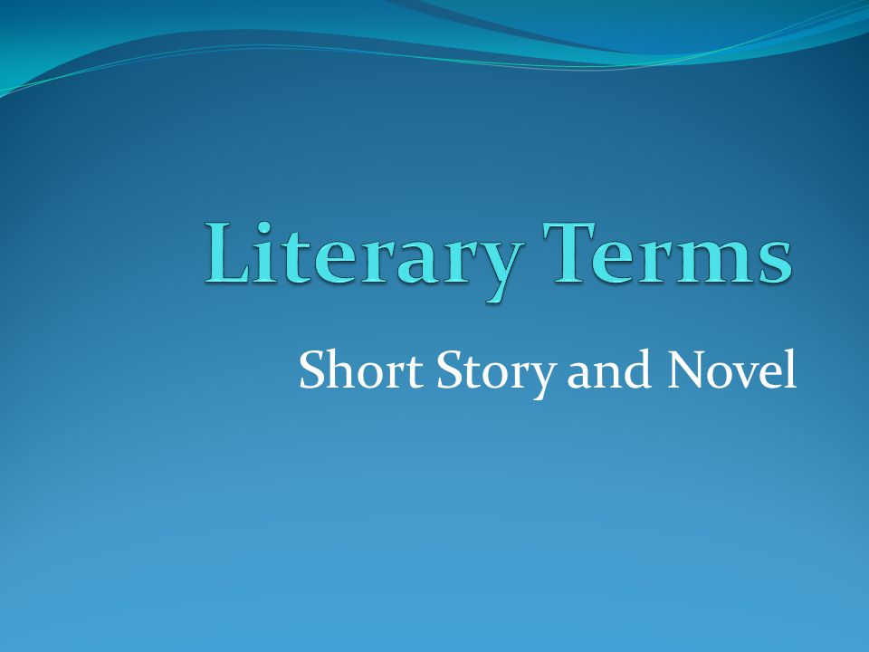 Literary Terms Short Story and Novel