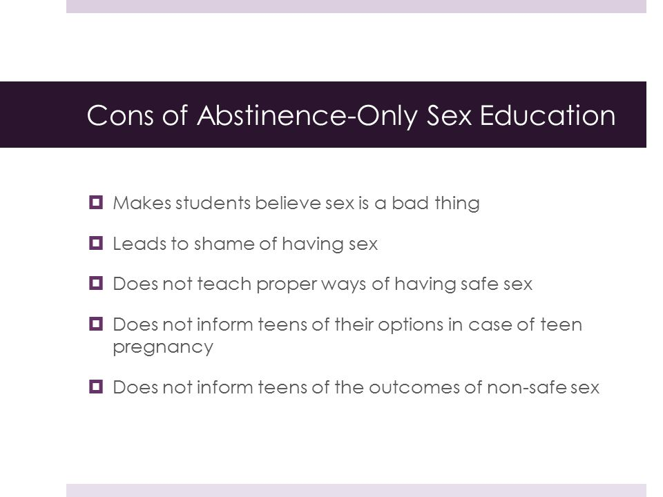 Sex education pros and cons