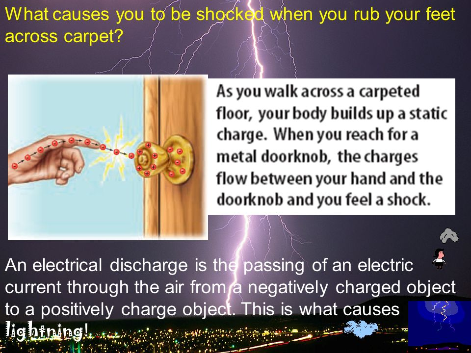What causes you to be shocked when you rub your feet across carpet
