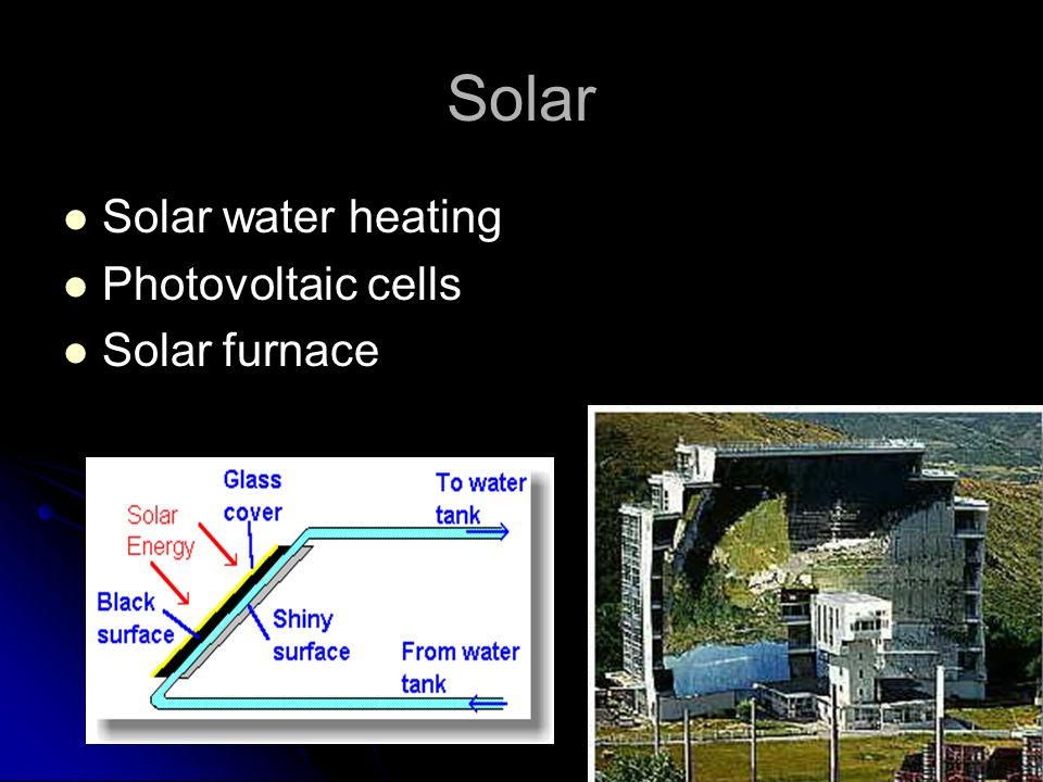 Solar Solar water heating Photovoltaic cells Solar furnace