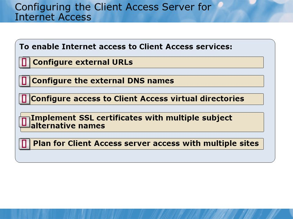 Configuring the Client Access Server for Internet Access