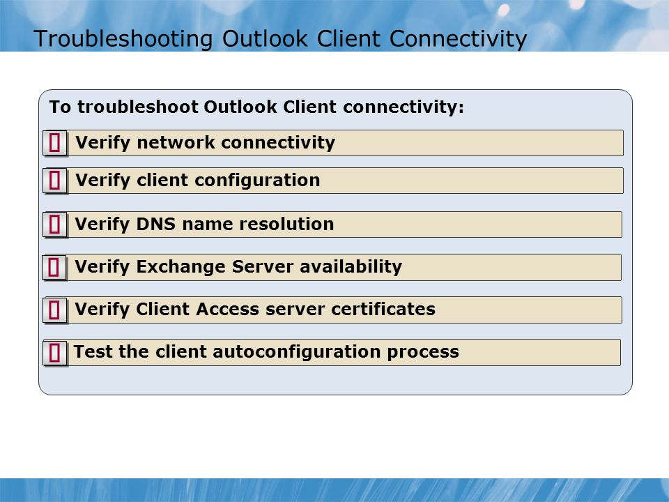 Troubleshooting Outlook Client Connectivity