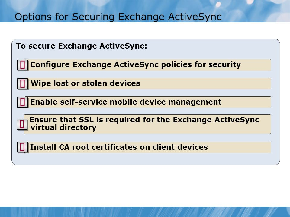 Options for Securing Exchange ActiveSync