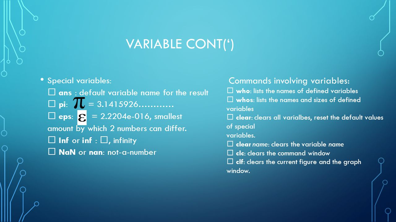 Variable cont(')