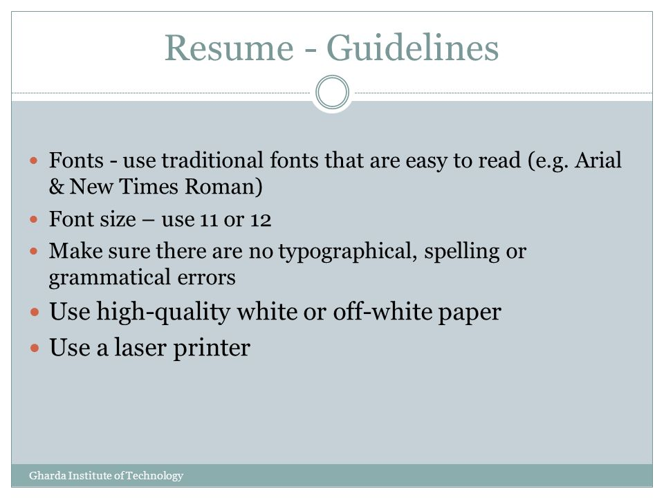 10 resume guidelines use high quality