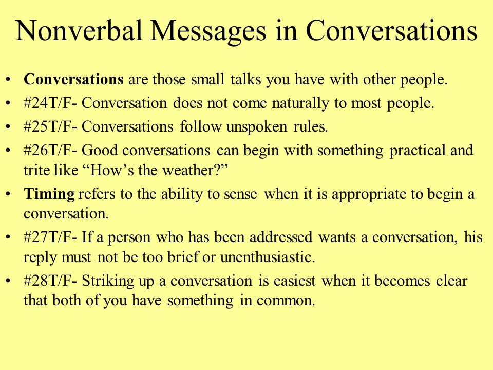 Nonverbal Messages in Conversations