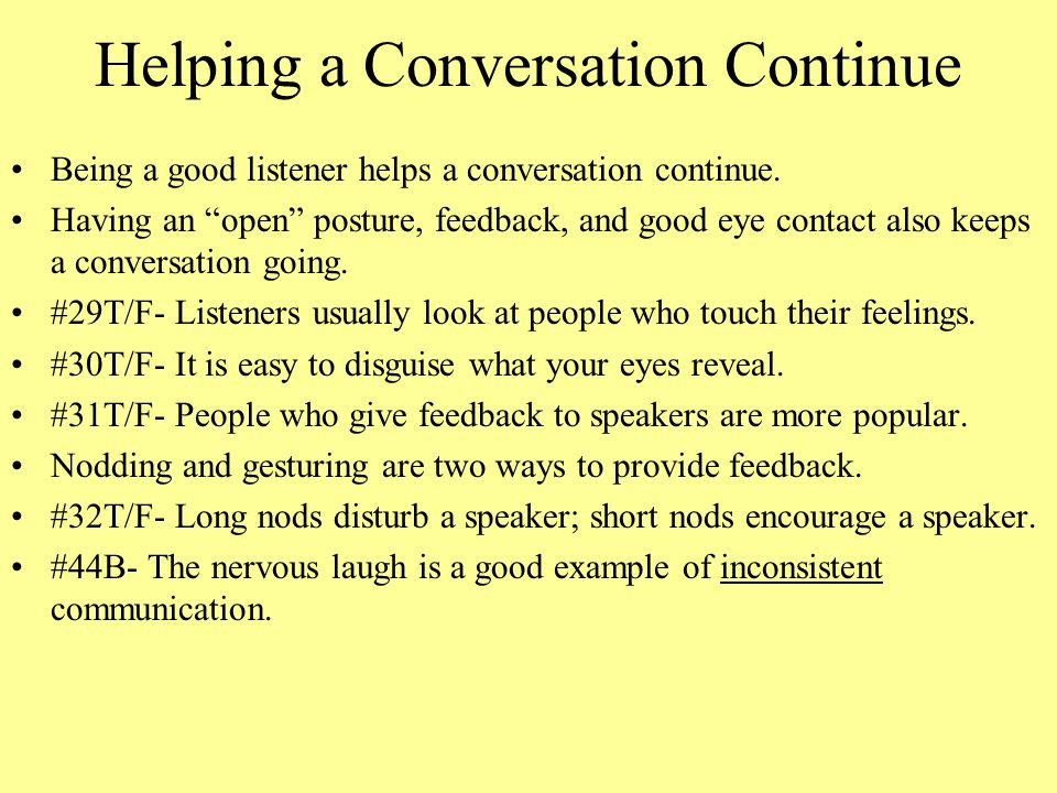 Helping a Conversation Continue