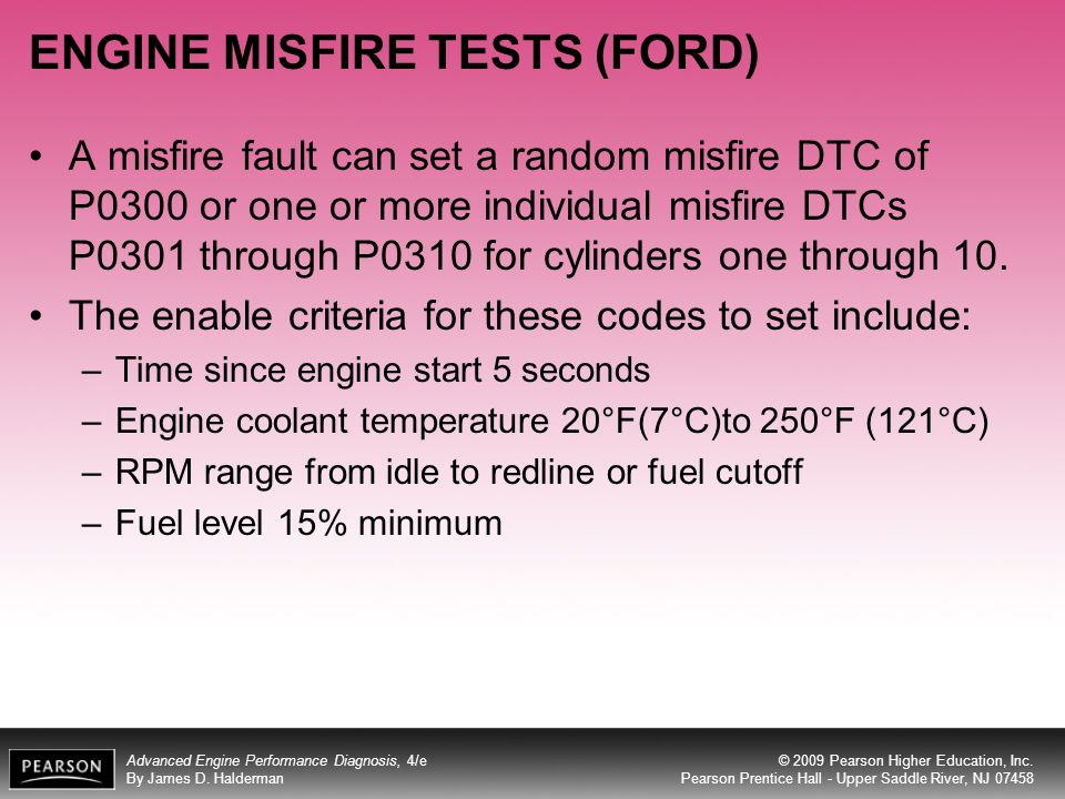 ENGINE MISFIRE TESTS (FORD)