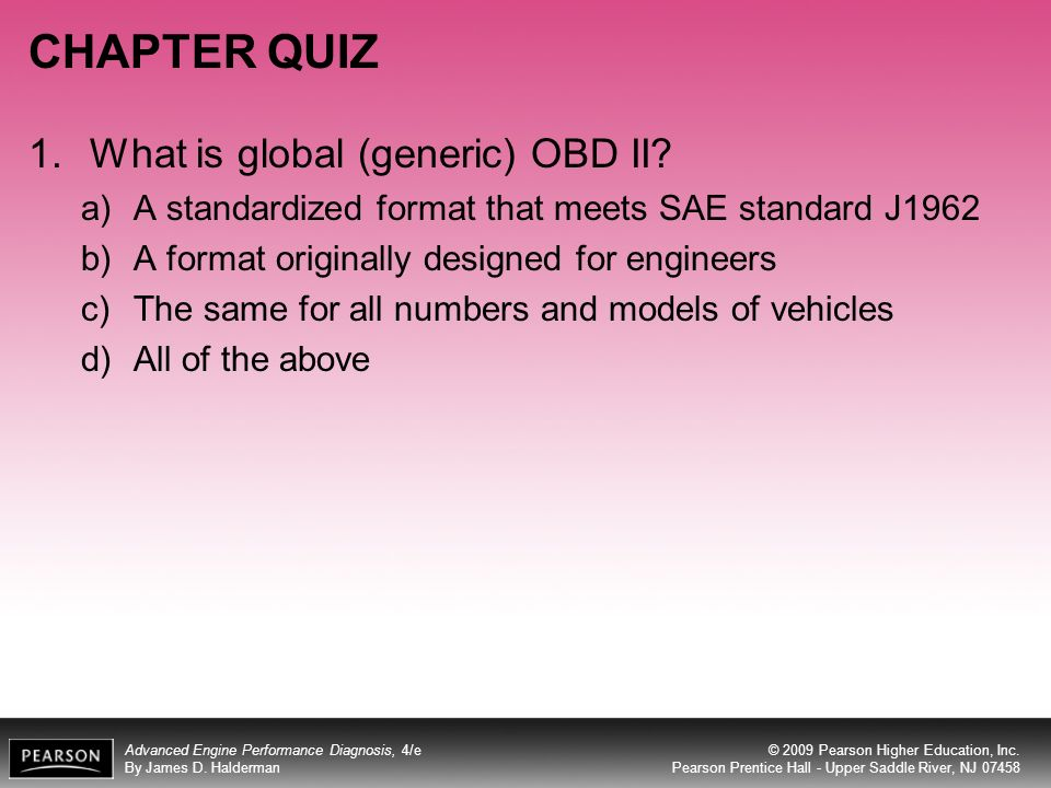 CHAPTER QUIZ What is global (generic) OBD II