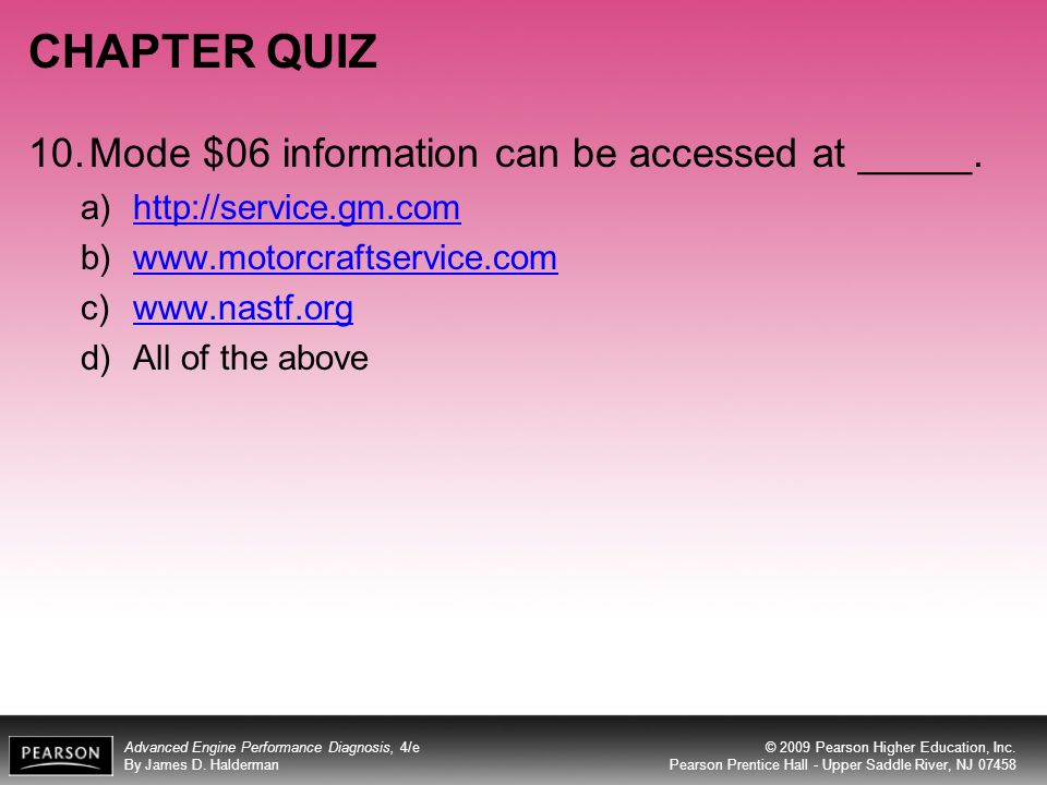 CHAPTER QUIZ 10. Mode $06 information can be accessed at _____.