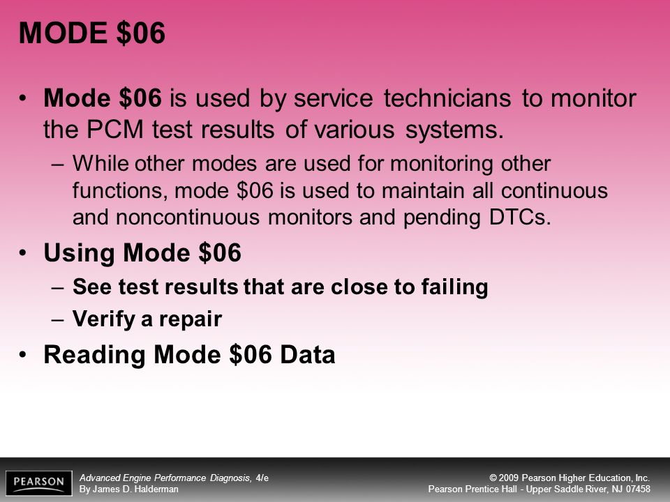 MODE $06 Mode $06 is used by service technicians to monitor the PCM test results of various systems.