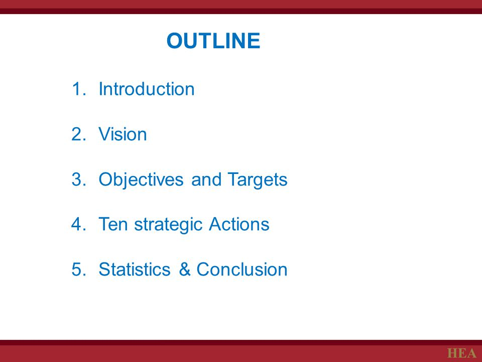 OUTLINE Introduction Vision Objectives and Targets