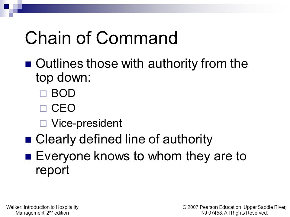 Chain of Command Outlines those with authority from the top down: