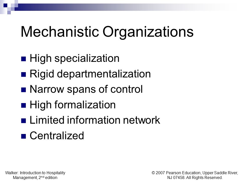 Mechanistic Organizations