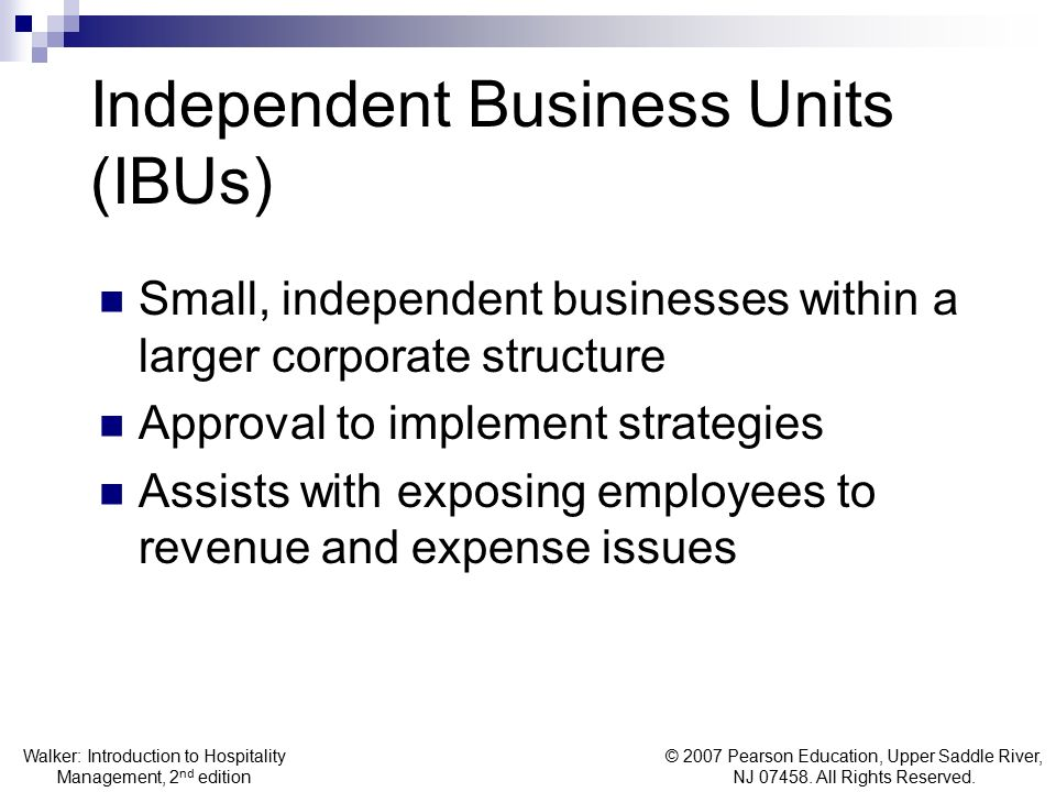 Independent Business Units (IBUs)