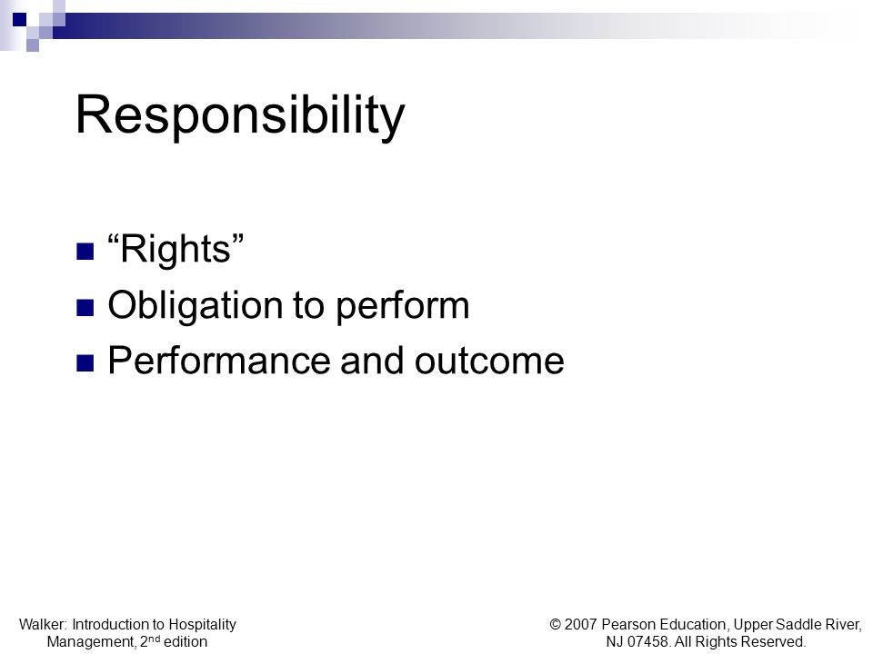 Responsibility Rights Obligation to perform Performance and outcome