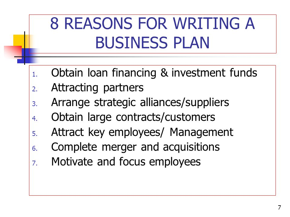 reasons for not writing a business plan
